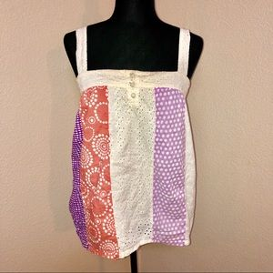 Roxy eyelet cotton tank with adjustable straps